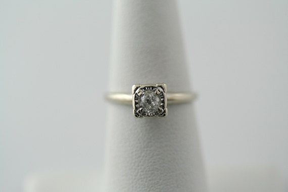 14K White Gold 1/4 ctw Diamond Solitaire Engagement Ring .25ct Vintage Estate