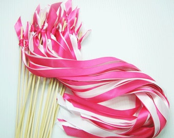 100 Wedding Wands with 2  satin ribbons no bell / Bubbles tube / birdseeds / rice /  send off streamers  / alternative to rice or confetti