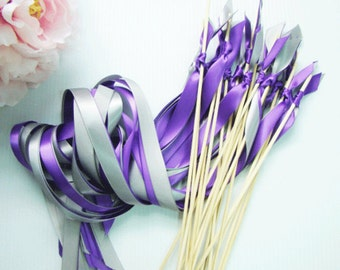 50 Ribbon Wedding Wands with two Satin Ribbons no bell streamers summer weddings send off wands satin ribbon