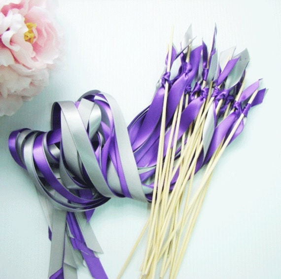 50 Ribbon Wedding Wands with two Satin Ribbons no bell streamers ...