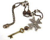Maltese Cross Necklace Vintage Assemblage Long Mixed Metal Brass Antique Silver Key Crystal Beads