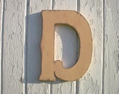 "Wooden Wall Hanging Personalized Letter D 12"" Nursery Initial Kids Wall Art Wall Decor Childrens Room Home Decor"