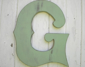 Wooden Letters G 18 inch Pale Green Wall Decor nursery kids wall art nursery letter large signs, gifts, signage, vintage style look