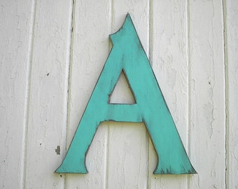 "Wooden Letters A 18 "" serif Wedding Decor Kids Art Nursery Sign Aqua large letters"