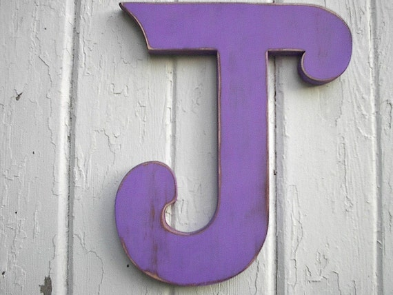 Shabby chic Wooden letter J 12 inch Wedding initial photo prop letter signs wall art