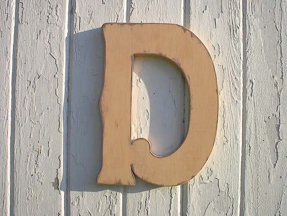 Wooden wall hanging personalized letter d 12 nursery - Wood letter wall decor ...