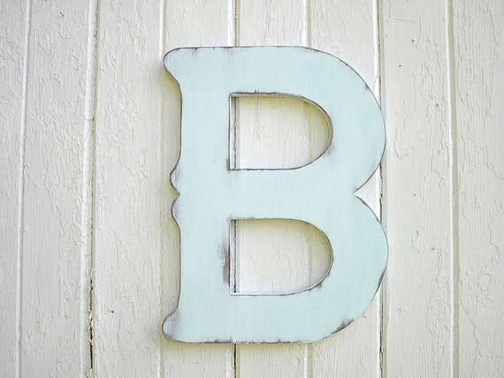 Wooden Letters B 18 inch China Blue distressed decorative large letter vintage style look Shabby Chic Decor Wedding kids wall art gift