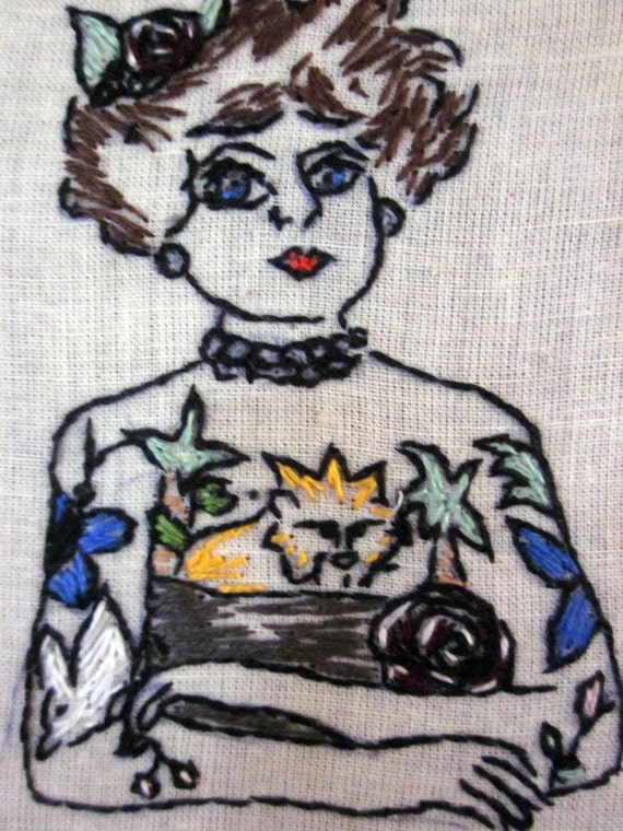 Original Hand Embroidered Tattooed Lady Portrait