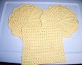 2 crocheted cotton potholders and 1 dishcloth - Yellow