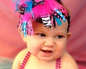 ON SALE OMG that ROCKstar-Over The Top-Mod Bow-baby headband-Birthday Bow-Baby Bow-Feather Headband-Feather Bow-Large Hair Bow