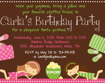 Sleepover Birthday Party Invitation - Printable