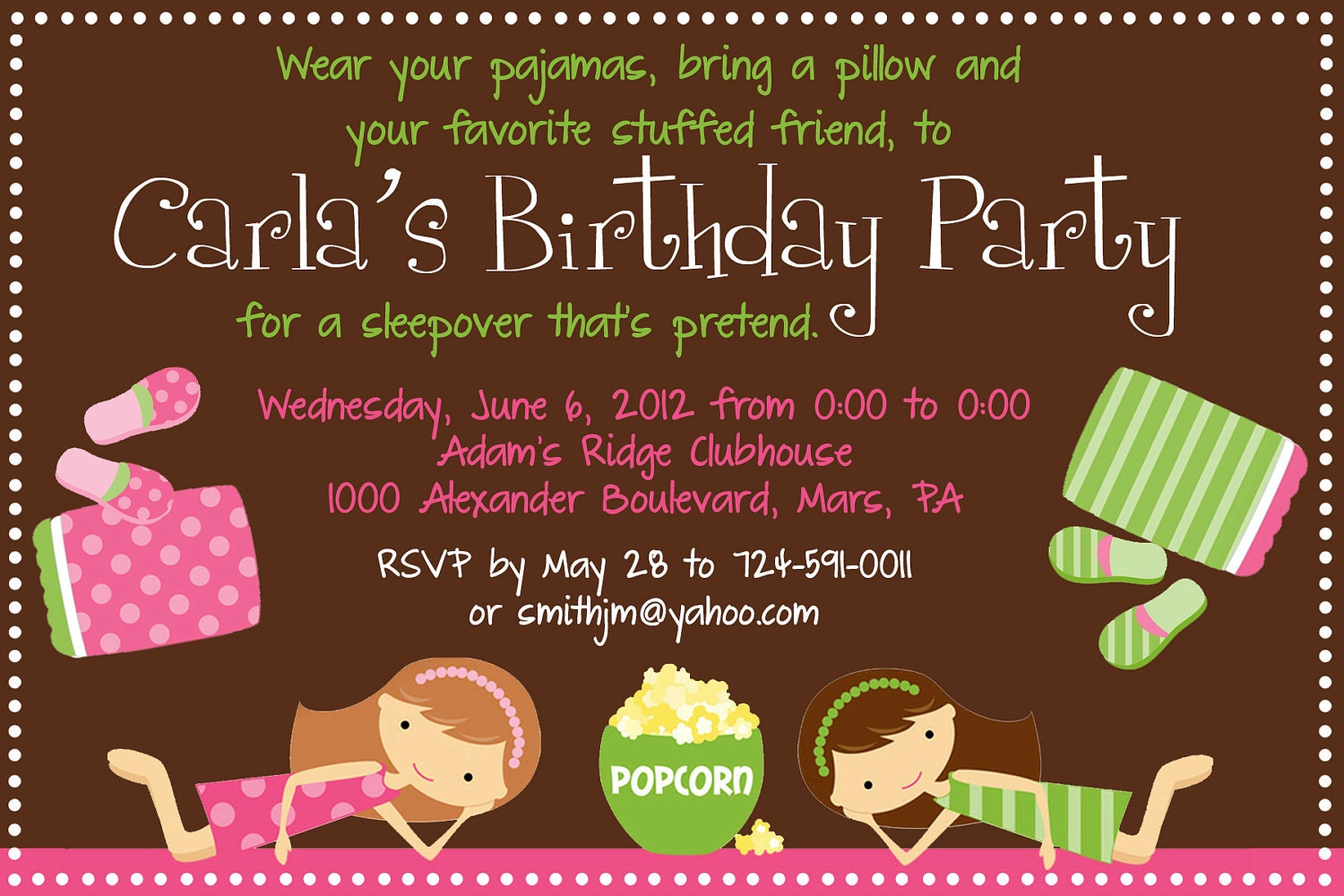 Sleepover Birthday Party Invitation Printable