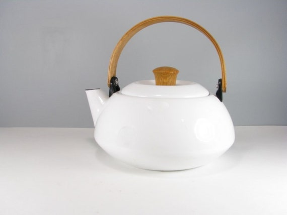 White Enamel Teakettle With Wooden Handle