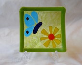 Handmade Butterfly and Flower Fused Glass Plate.