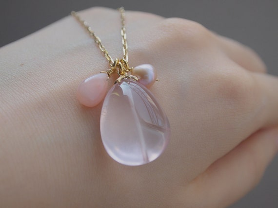 Lovely Pink Trio Long Necklace In Gold Vermeil - Gemstone -  Rose Quartz , Pink Opal , Pink Pearl - Dainty Sterling Silver Chain