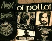 set of 8 hc punk/metal patches, Antischism, Cryptopsy, Venom, Confuse, Charles Bronson, Charles Manson, Hirax, Oi Polloi