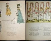 "Vintage Children's Illustration and Poem by Kate Greenaway -from Children's Book ""Marigold Garden Pictures and Rhymes"""