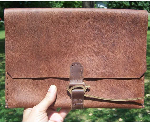 Handmade leather IPAD case envelope clutch in Med Brown pull up Leather. 100% handcut handstitched by me