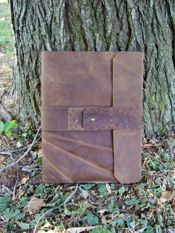 Refillable leather Journal in rustic BROWN, handcut & handstitched by me, ready to ship to you  with ruled composition notebook.