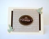 Handmade Wedding Day Card- Pink, Cream, Brown - Silver Glittering Doves