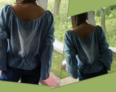 ON SALE Vintage 90's Denim 70's Style Long-Sleeved Blouse