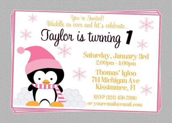 Custom Cute Penguin Birthday Party Invitations - DIY Printable File