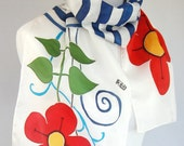 Folk Poppies and Navy Blue Stripes Motives Painted Silk Scarf