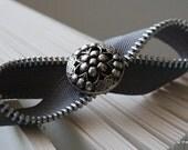 Infinity Headband: Handmade with a Slate Metal Zipper and Metal Button