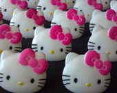 24 Hello Kitty face cupcake rings picks or cake toppers, perfect for your girly hot pink HK friendship cat birthday party  treat bag favors