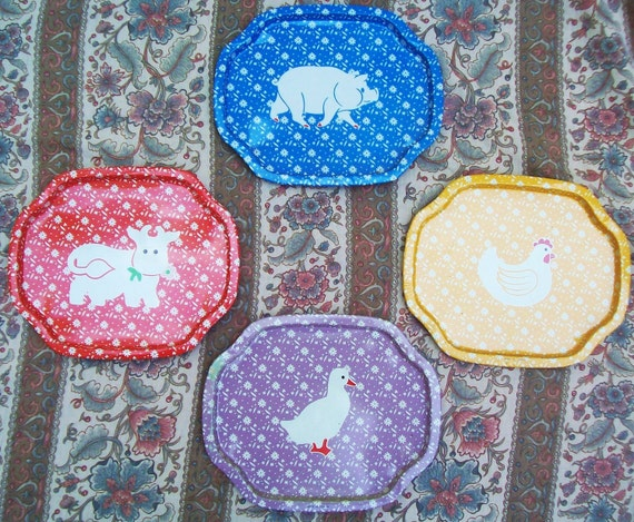 Vintage Decorative Small Kitchen Animal Country Wall Trays Set of 4