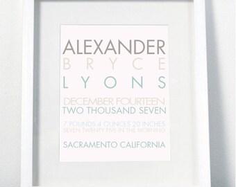 Modern Baby Name Print - Custom Personalized Nursery Wall Decor