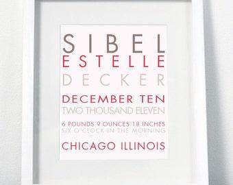 Modern Baby Name Giclee Print - Personalized Nursery Wall Decor