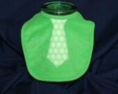 Little Man Bib with necktie, green polka dot on green - support domestic adoption