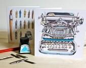 Set of Four Blank Cards. Typewriter and Dip Pen.