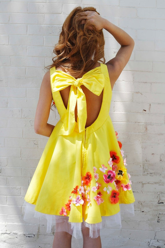 Yellow Dress - Pink Orange Flowers Bow on Back Cutout Inspired by Vintage