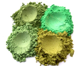 4pc GREENS Mineral Eye Shadow Mineral Makeup Quad Set - Pure & Natural
