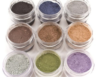 9pc WINTER Eyeshadow Collection Mineral Makeup Eye Color Set Natural Vegan Minerals
