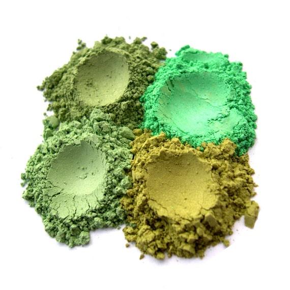 15% OFF - 4pc GREENS Mineral Eyeshadow Makeup Quad Set