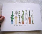 """Original watercolor painting There are many ways of beinf tall - Aguarela original """"Há muitas maneiras de se ser alto"""""""