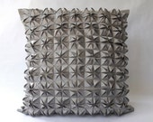 Faceted Satin Silver Pillow Cover
