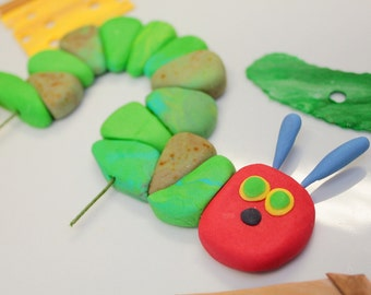 1 qty Hungry Fondant Worm, 14 Food pieces, Hungry Caterpillar Toppers, for Hungry Caterpillar birthday