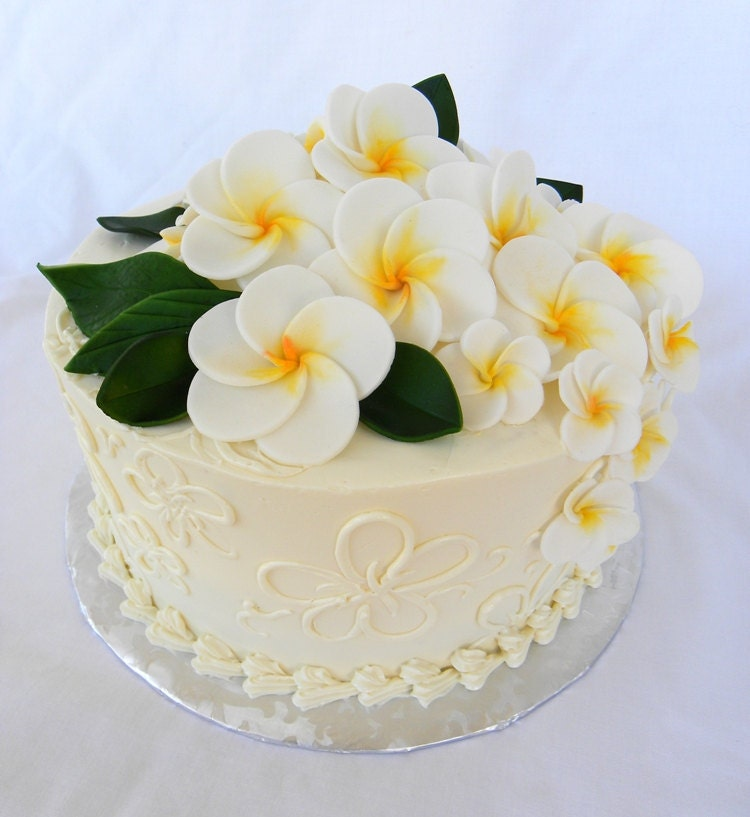 Gumpaste Flowers For Wedding Cakes: Gum Paste Wedding Cake Sugar Flower Cake Topper Plumeria 6