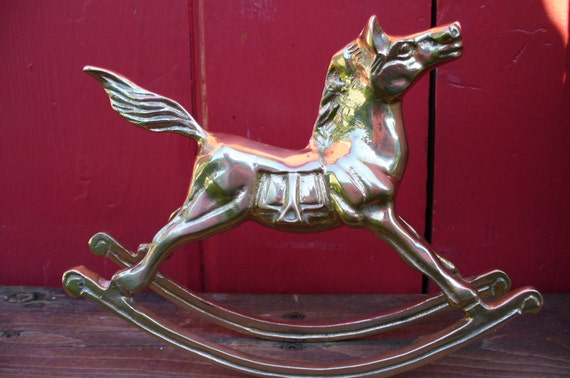 Christmas Decoration VINTAGE ROCKING HORSE made of Brass