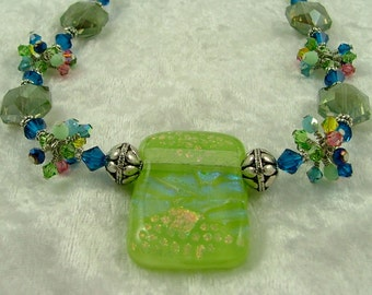 """MAJOR MARKDOWN - Summer Time Green, Blue and Pink Wire Wrapped Bundles on a 20"""" Beaded Dichroic Fused Glass Necklace"""