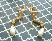 Slither - Gold Tone Snake Earrings with Faux Pearl and Rhinestones