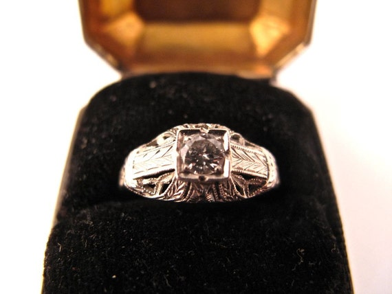 18K White Gold Filigree Art Deco Ring  with .25 Carat Diamond