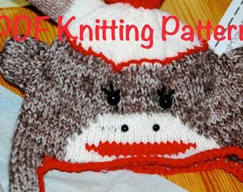 Sock Monkey Ear Flap Knitted Hat Pattern