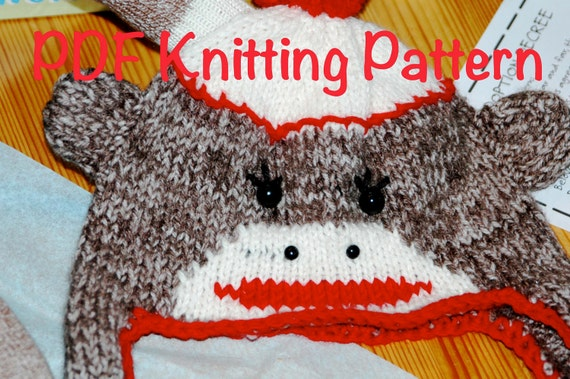 Sock Monkey Hat Knitting Pattern : Sock Monkey Ear Flap Knitted Hat Pattern