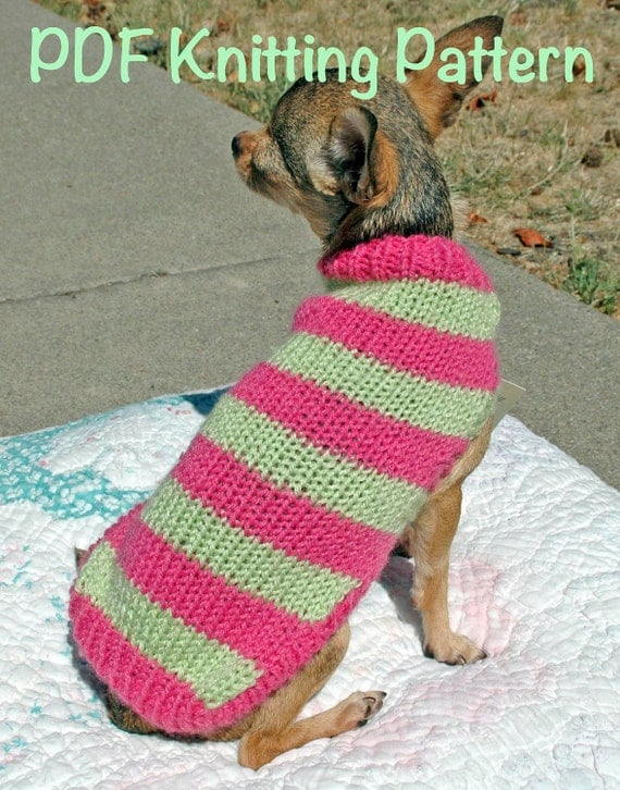 Knitting Patterns For Dogs Clothes : Easy & Cute Dog Sweater Knitting Pattern by DimpleberryHill