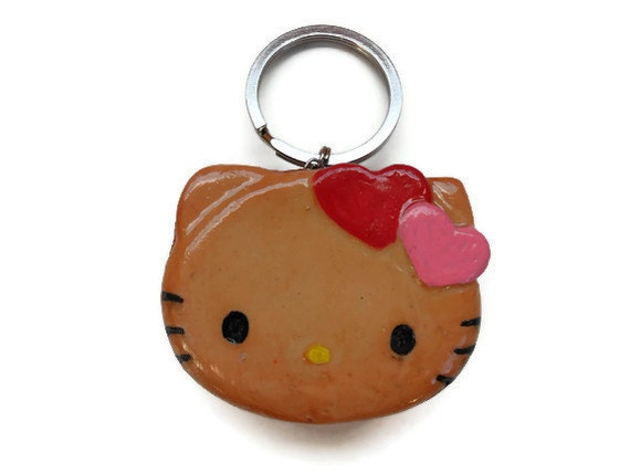 Kawaii Hello Kitty Cookie Charm Keyring Keychain